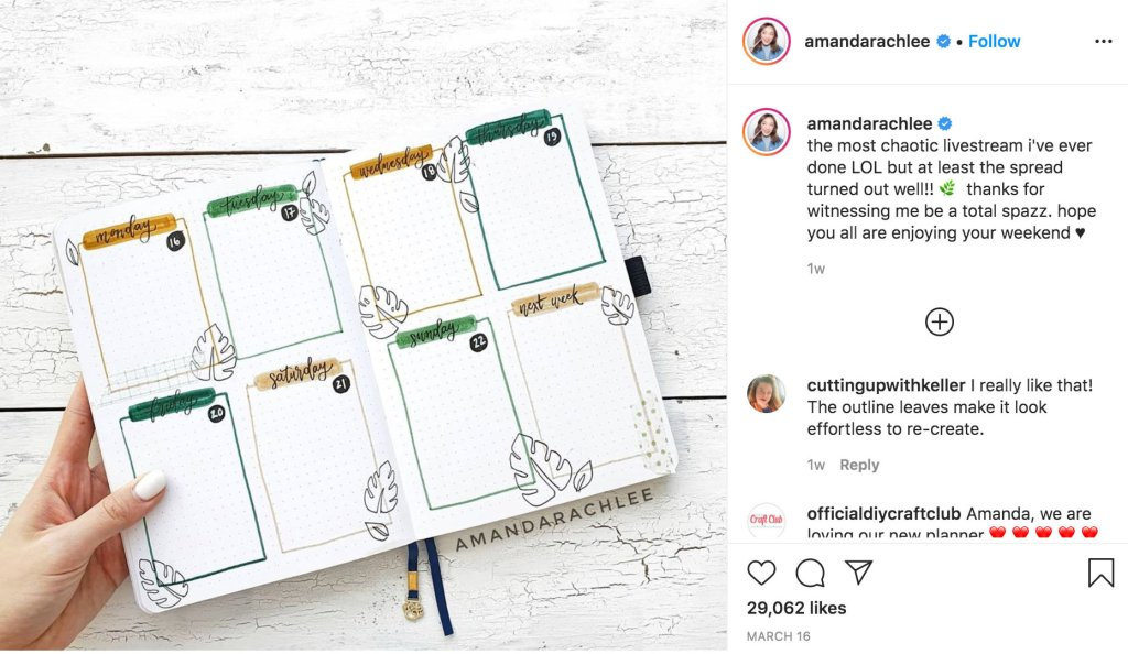 Bullet journal live stream by Amanda Rach Lee for inspiration