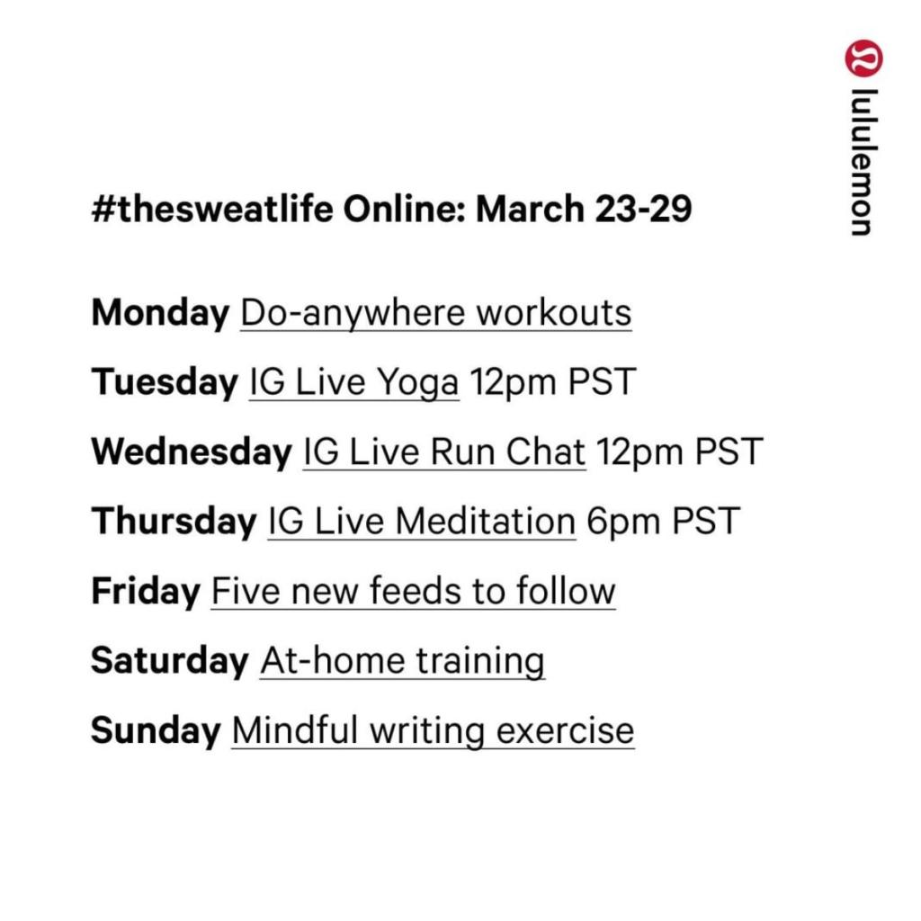 Lululemon's instagram live schedule